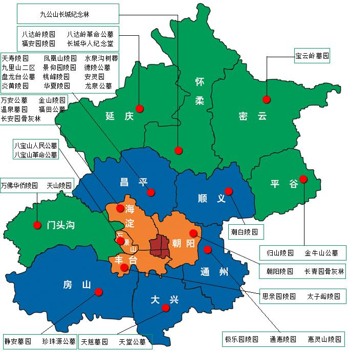 北京陵园分布图